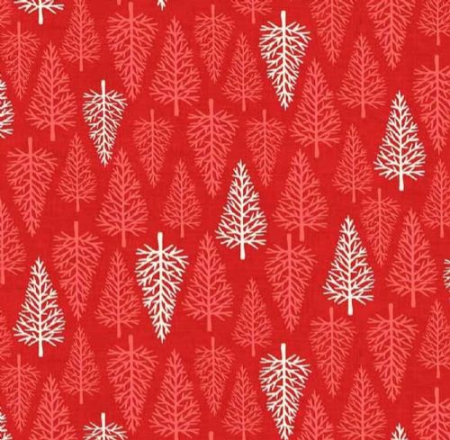 Makower - Scandi, Christmas Trees - Red Christmas Quilting Fabric